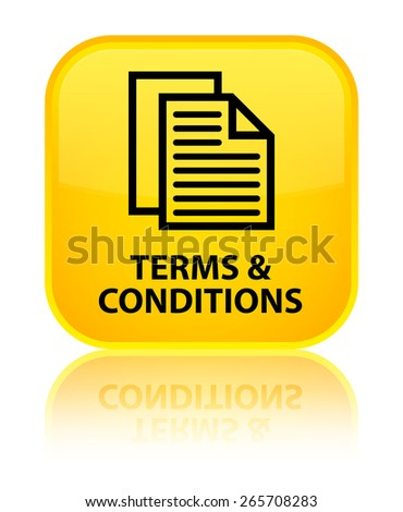 Terms and conditions (pages icon) yellow square button - stock photo