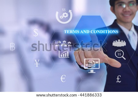 TERMS & CONDITIONS  concept  presented by  businessman touching on  virtual  screen  - stock photo