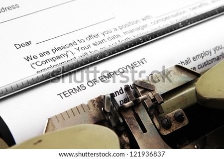 Terms of employment - stock photo