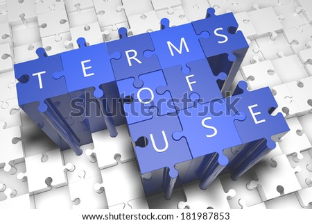 Terms of use - puzzle 3d render illustration with text on blue jigsaw pieces stick out of white pieces - stock photo