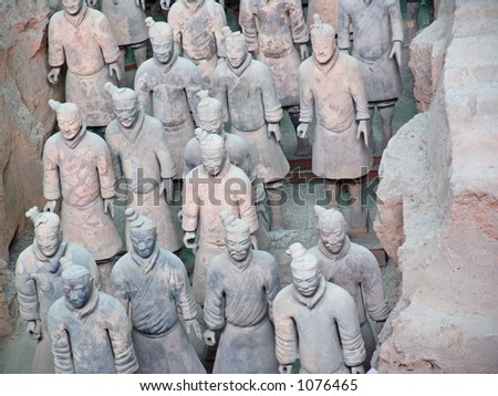 Terra Cotta Warriors on display in Xian, China - stock photo