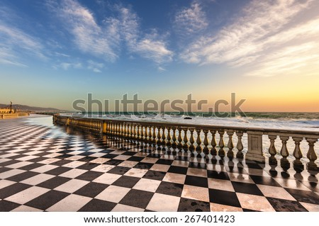 Terrace Mascagni in Livorno, viewpoint along the sea with the checkerboard floor, Tuscany, Italy - stock photo