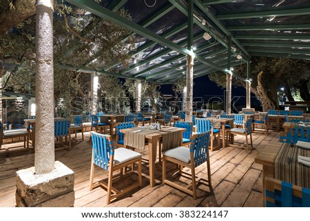 Terrace of a restaurant. Night scene - stock photo