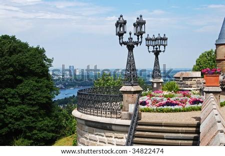 Terrace overlooking Bonn & River Rhine, Germany - stock photo