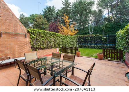 Terrace with garden - stock photo