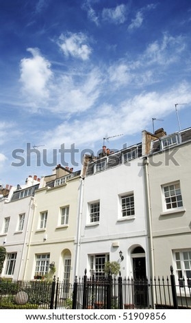 Terraced Houses in Knightsbridge, London - stock photo