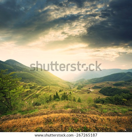 Terraced mountains clouds - stock photo