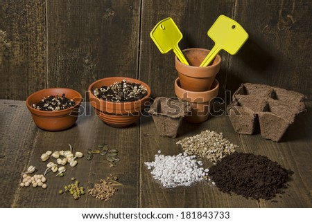 Terracotta pots, with tags and soil. A selection of seeds and pea, bean, pumpkin and beet lying on a table. Soil, perlite and vermiculite  - stock photo