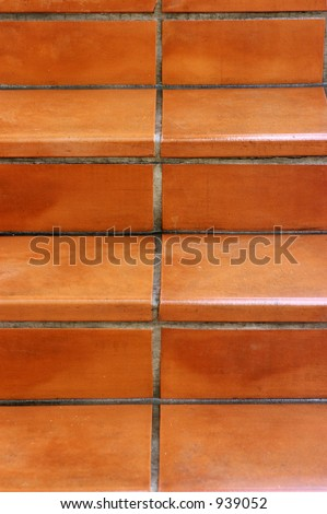 Terracotta Tile Stairs - stock photo