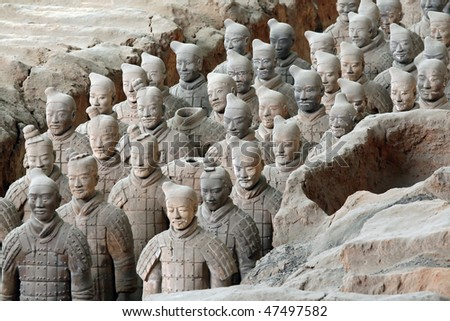 Terracotta warriors (Xian, China) - stock photo