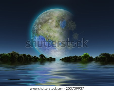 Terraformed Luna rises over water Elements of this image furnished by NASA - stock photo