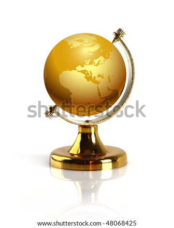 Terrestrial globe isolated on a white background. - stock photo