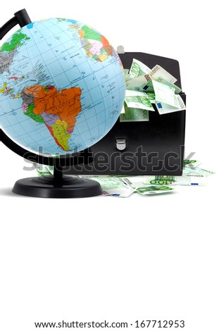 Terrestrial globe, money and briefcase isolated on a white background  - stock photo