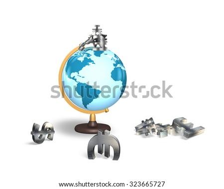 Terrestrial globe with metal money symbols, isolated on white background. - stock photo