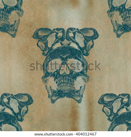 Terrible frightening seamless pattern with skull and crown of pelvic bones on a antique grunge background - stock photo