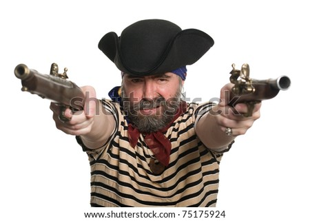 Terrible pirate in tricorn hat with a muskets. - stock photo