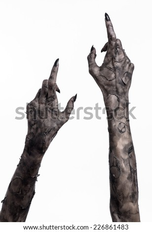 terrible zombie hands, dirty hands of the mummy, zombie theme, halloween theme, white background, isolated, black hand of death with black fingernails, monstrous art - stock photo