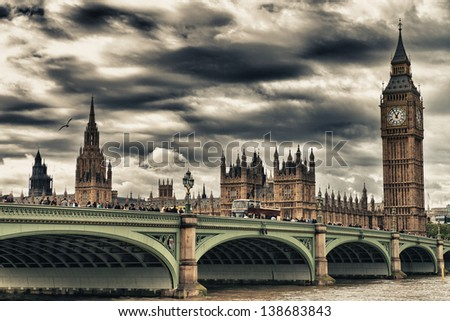 Terrific view of Westminster Bridge and Houses of Parliament, London. - stock photo