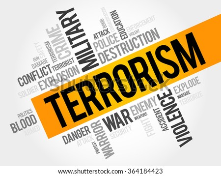 Terrorism word cloud concept - stock photo