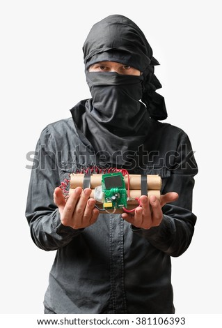 Terrorist holds dynamite bomb in hand. Isolated on white background. - stock photo