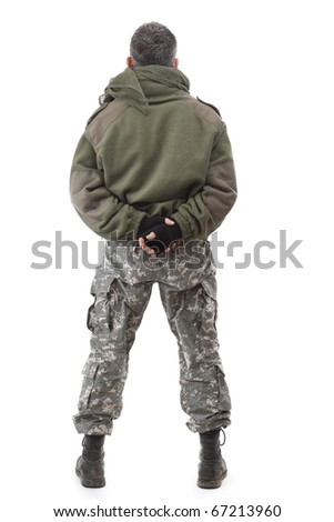 Terrorist standing - back view, isolated on white background - stock photo
