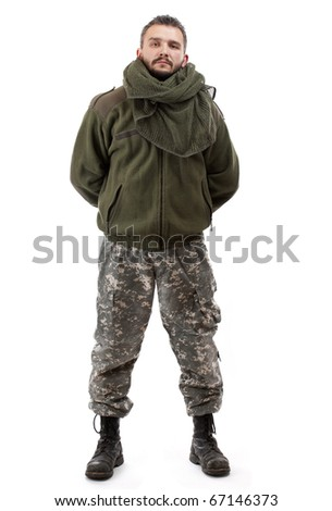 Terrorist standing, isolated on white background - stock photo