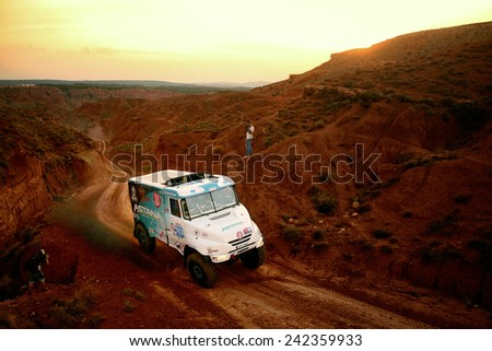 TERUEL, SPAIN - JUL 19 : Kazakh driver Artur Ardavicus and his codrivers Alexey Nikizhev and Filip Skrobanek in a Tatra T163 Jamal race in the XXXI Baja Spain, on Jul 19, 2014 in Teruel, Spain. - stock photo