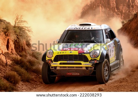 TERUEL, SPAIN - JUL 19 : Spanish driver Nani Roma and his codriver Michel Perin in a Mini All4 Racing race in the XXXI Baja Spain, on Jul 19, 2014 in Teruel, Spain. - stock photo