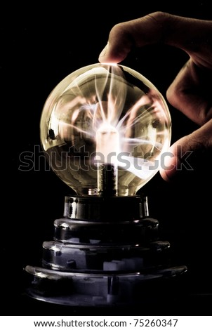 Tesla Coil Electricity Response - stock photo