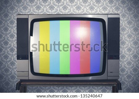 Test signal display on a retro tv - stock photo