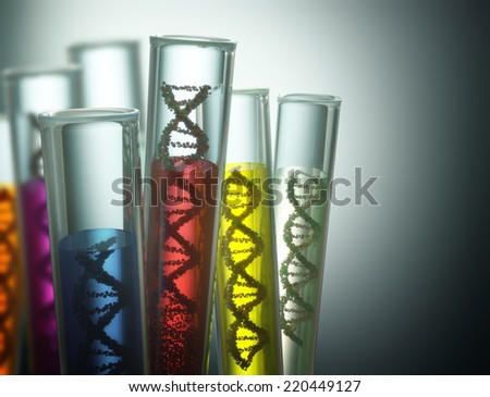 Test tube with dna inside. Concept of manipulation of the genetic code. Clipping path included. - stock photo