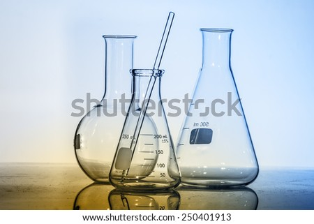 Test-tubes blue colors. Laboratory - stock photo