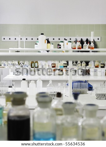 test tubes equipment  in chemistry bright lab - stock photo