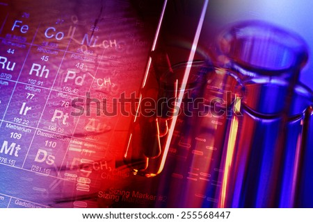 Test tubes. Small depth of field. - stock photo