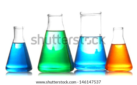 Test tubes with colorful liquids isolated on white - stock photo