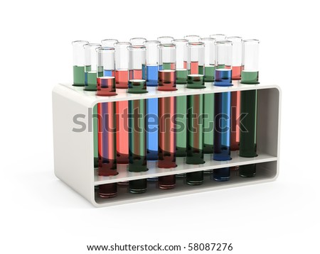 Test tubes with liquid in a rack isolated on white background - stock photo