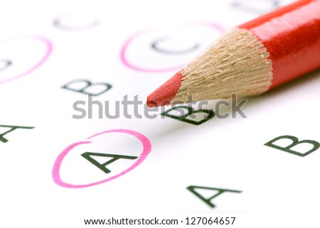 Test with red pencil. - stock photo