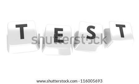 TEST written in black on white computer keys. 3d illustration. Isolated background. - stock photo