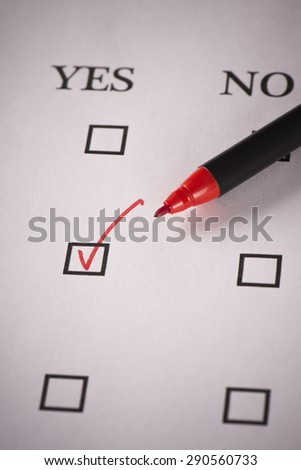 Test yes or no - stock photo
