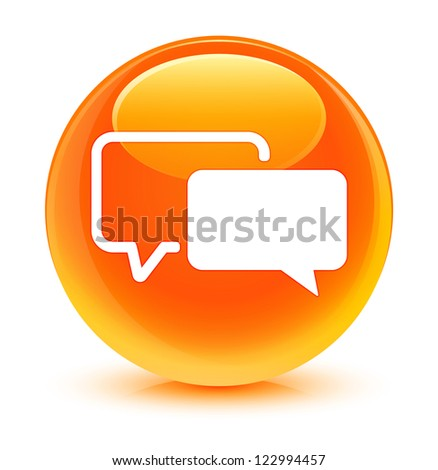 Testimonial icon glassy orange button - stock photo