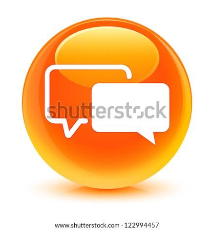 Testimonial icon glassy orange button - stock photo