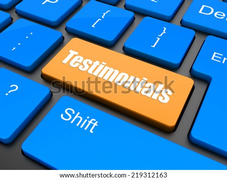 testimonial word on keyboard key, notebook computer button - stock photo