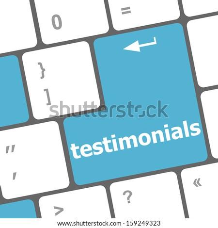 testimonial word on keyboard key, notebook computer button, raster - stock photo