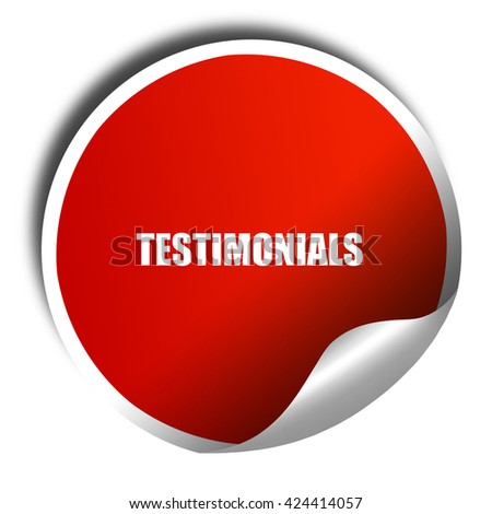 testimonials, 3D rendering, red sticker with white text - stock photo