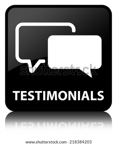 Testimonials glossy black reflected square button - stock photo