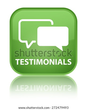 Testimonials soft green square button - stock photo