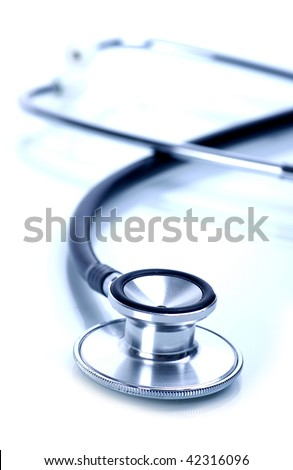 tethoscope with shadow and blue tint - stock photo