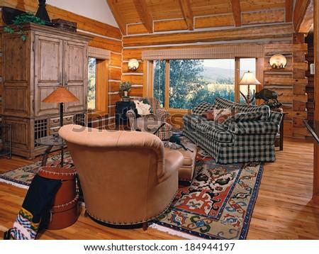 Tetonia, Idaho, USA, Mar. 23 2011The interior of a cozy log cabin in the mountains - stock photo