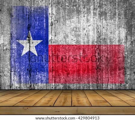 Texas concrete flag with wooden floor - stock photo