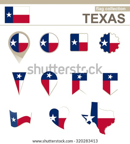 Texas Flag Collection, USA State, 12 versions, Rasterized Copy - stock photo